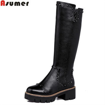Plus size high quality pu+genuine leather women motorcycle boots square heele autumn winter knee high riding boots women shoes