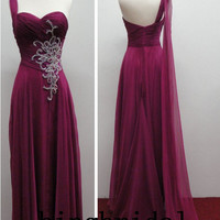 One-shoulder sleeveless beads chiffon satin pleated long prom/Evening/Party/Homecoming/cocktail /Bridesmaid/Formal Dress