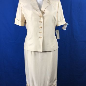 NWT Albert Nipon Cream Blazer/Skirt Sz 16