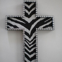 ZEBRA PRINT & BLING Wall Cross - Handpainted wood cross w/ zebra print eco felt and clear rhinestones