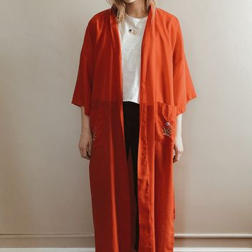 Vintage 1970's Embroidered Duster Robe