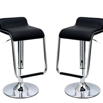 Manhattan Comfort Sophisticated Horatio Barstool with a Hanging Footrest -Set of 2