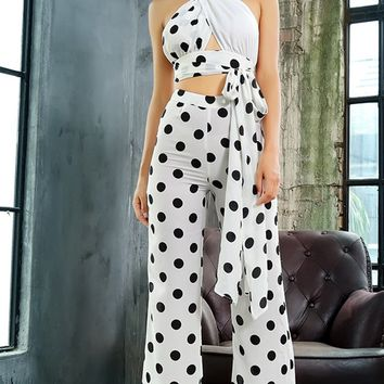 From Up Here White Black Polka Dot Pattern Sleeveless Cross Wrap Cut Out Halter Crop Top High Waist Loose Wide Leg Two Piece Jumpsuit
