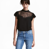 Blouce with Lace Yoke - from H&M