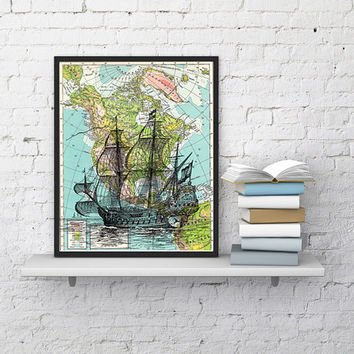 Old Ship on Map Vintage Book Print Dictionary or Encyclopedia Page Print map  Print on Vintage Book art