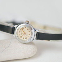 Super small women's watch Volga –  women's  micro watch silver shades - tiny lady watch rare - gift lady's watch - new premium leather strap