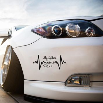 Cool Graphics My Lifeline Jesus Decal Sticker Christian God Religious Cute Car Stying Car Accessories Jdm
