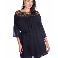 Women's Plus Size Boat Neck Lace Dress With Tie Belt - Black