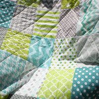 Modern Baby quilt,teal,grey,lime green,Baby boy bedding,baby boy quilt,Patchwork Crib quilt,chevron blanket,polka dots,toddler-Lime Twist