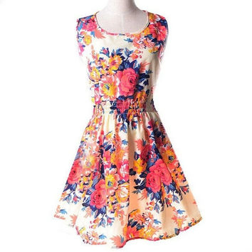 2015 New Spring Summer Autumn Fashion Women Casual Bohemian Dress Floral Print Sleeveless Vest Chiffon Beach Dresses NXH01011 = 1928697732