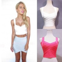Sexy Stretch High Waist Bandage Crop Cami Bralet Bustier Blouse Corset Top