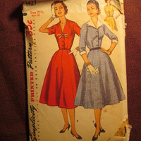 SALE Complete 1950's Simplicity Sewing Pattern, 1427! Size 20 1/2 Bust 39 women's/Misses/Full Flared Skirt/Collared Dress/50's Party Dress