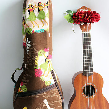 Soprano ukulele case &ribbon lei(Ready to ship)  / hula girl b F / gig bag / soft case / hawaiian fabric / tropical / surfboard / instrument