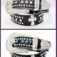 Western Rhinestone woman Girl Belt Rodeo  Cross Croco leather Bling BW50161