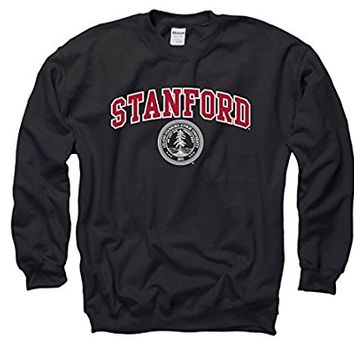 Stanford University Arch & Seal Mens Crew Neck Sweatshirt-Black
