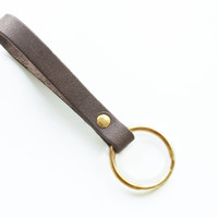 Genuine Leather minimalistic key fob key chain in Dark Roast