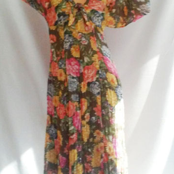 80s Gauzy FLORAL midi dress forest green floor length dress