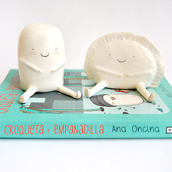 Set of Two Figures of Croqueta and Empanadilla by Ana Oncina. Made To Order