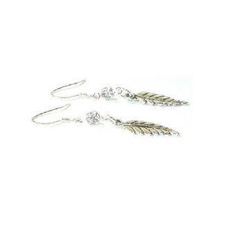 Sterling Silver CZ Earrings , CZ  Gemstone  Earrings , Leaf Charm Earrings