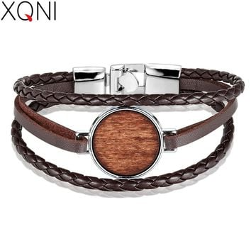 XQNI Braided Leather Bracelet Multi-layer Rose Chain Combination Wood Accessories Leather Bracelet For Men Punk Style Gift