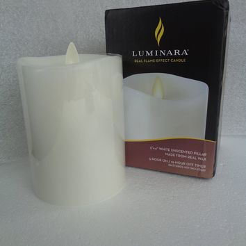 """Luminara 4"""" White Unscented 360 Top Candle - Open Box"""