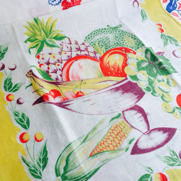 Fruit Basket Tea Towel Vintage Linens Yellow Kitchen Towel with Fuit