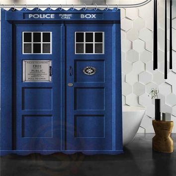 Custom doctor who Police box Shower Curtain Bath  Novelty Polyester Fabric Waterproof Curtain Hooks