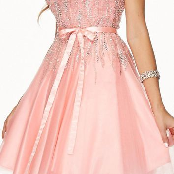 Juliet 776 Sequins Embellished Bodice Illusion Short Prom Dress Blush