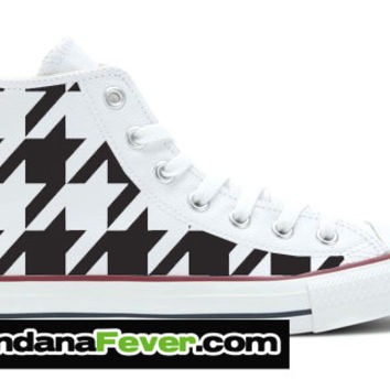 Converse Black Houndstooth Graphic White Chuck Taylor Hi + FREE SHIPPING - by Bandana Fever