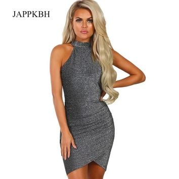 JAPPKBH Summer Spring Glitter Bodycon Dress Women Elegant Solid Party Dresses Sexy Halter Clothes Club Sequin Mini Dress Vestido