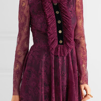 Philosophy di Lorenzo Serafini - Velvet-trimmed ruffled lace mini dress