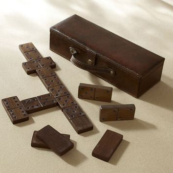 SADDLE LEATHER TRAVEL DOMINO SET