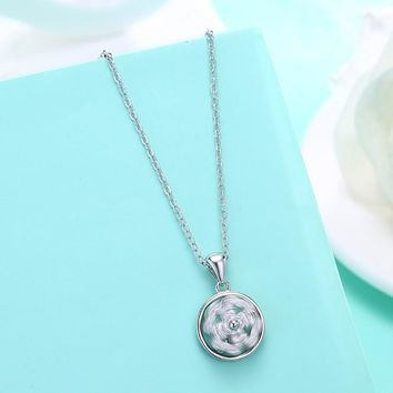 Swarovski Crystal 18K White Gold over Sterling Silver Daisy Necklace