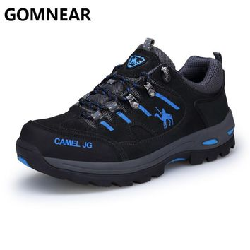 GOMNEAR Sneakers Men Outdoor Fishing Trekking Shoes Hiking Shoes Waterproof Tourism Non-Slip Camping Sports Shoes Leather Boots