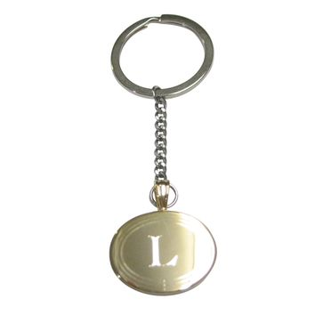 Gold Toned Etched Oval Letter L Monogram Pendant Keychain