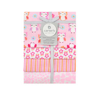 Carter's Girly Owl 4 Pack Flannel Receiving Blanket