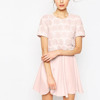 ASOS Overlay Lace Dress With Scuba Skirt