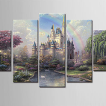 5 Piece Canvas Art  Modern Landscape Painting Canvas Art HD Rainbow Castle Forest Wall Picture For Bed Room Back to the Future