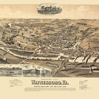 Antique Map of Waynesboro Virginia 1891 City Of Waynesboro County