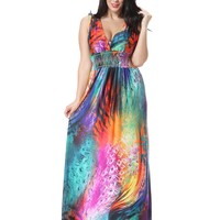 2017 Women Summer Holiday Beach Dress Plus Size 7XL Printed Long Maxi Dress Elbise Robe ete Jurk Robe Longue