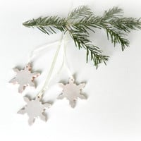 Christmas Ornaments Snowflake Pottery Rustic Decoration White Eco Friendly Ceramic Ornament Set of 3 Wedding Gift
