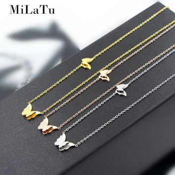 MiLaTu Charm Women 3D Double Butterflies Chokers Necklace 3 Colors Stainless Steel Necklace Women Jewelry Gift NE434G