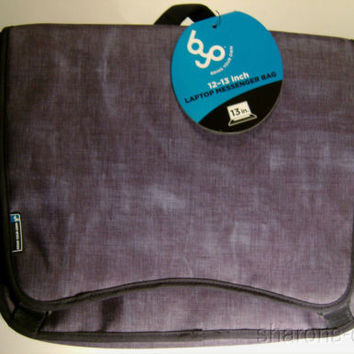 "BYO 12-13"" Neoprene Laptop Messenger Bag Bell Bottom Blue Compartments Padded"