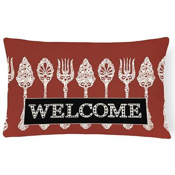 Serving Spoons Welcome   Canvas Fabric Decorative Pillow SB3090PW1216
