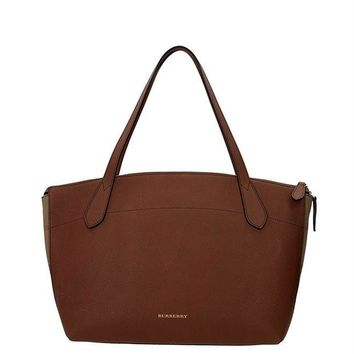 ONETOW Burberry Welburn Medium Leather Check Canvas Tote Tan Brown Bag New