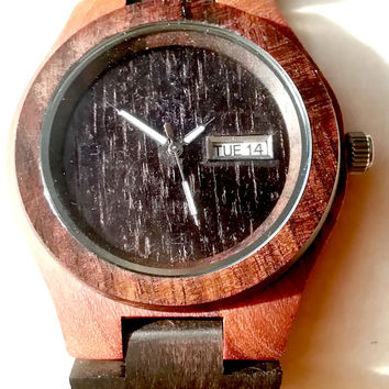 Wooden Watch | Eco-Friendly Sandal Wood Analog and Date Wood Watch - All Wood, custom made for our store