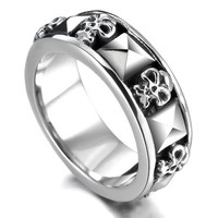 Men's Stainless Steel Ring Band Silver Tone Black Skull Pyramid