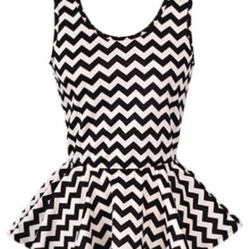 Chevron Peplum Top | Striped Black White Juniors Tops | Rickety Rack
