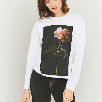 Light Before Dark White Flower Long Sleeve T-shirt - Urban Outfitters