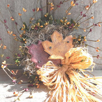 Autumn Leaves Berry Wreath with Raffia Bow